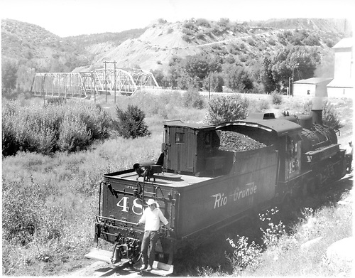 D&amp;RGW K-36 #48x switching in Durango yard with the brakie riding the rear footboards.  This may be #480 or #489.<br /> D&amp;RGW  Durango, CO