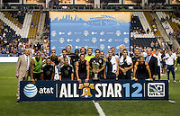 The MLS All-Stars pose with the All-Star trophy after the game at PPL Park in Chester, PA.  The MLS All-Stars defeated Chelsea, 3-2.