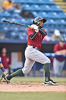 Savannah Sand Gnats center fielder John Mora (4) swings at a pitch during a game against the Asheville Tourists on June 2, 2015 in Asheville, North Carolina. The Sand Gnats defeated the Tourists 4-1. (Tony Farlow/Four Seam Images)