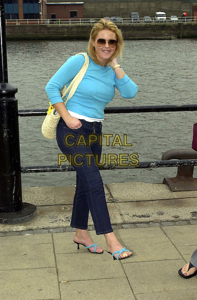 "PATSY KENSIT.At Photocall Before Principal Photography Of Romantic Comedy ""The One and Only"" in Newcastle..sunglasses, shades, turquoise top, full length, full-length.www.capitalpictures.com.sales@capitalpictures.com.Supplied By Capital Pictures"