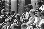 Protesters singing We Shall Overcome during protest in front of a Tuskegee Segregated White church. This and over 10,000 other images are part of the Jim Peppler Collection at The Alabama Department of Archives and History:  http://digital.archives.alabama.gov/cdm4/peppler.php