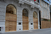 NEW YORK, NEW YORK - JUNE 2: A Versace store is boarded up after a night of looting on stores due to protest on June 2, 2020 in New York City. Protests spread across the country in at least 30 cities across the United States, over the death of unarmed black man George Floyd at the hands of a police officer, this is the latest death in a series of police deaths of black Americans. New York face it's second night of a curfew (Photo by Joana Toro / VIEWpress via Getty Images)