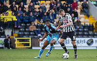 Rowan Liburd (Loanee from Reading) of Wycombe Wanderers & Haydn Hollis of Notts County go for the ball during the Sky Bet League 2 match between Notts County and Wycombe Wanderers at Meadow Lane, Nottingham, England on 28 March 2016. Photo by Andy Rowland.