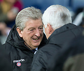 2nd December 2017, The Hawthorns, West Bromwich, England; EPL Premier League football, West Bromwich Albion versus Crystal Palace; West Bromwich Albion Head Coach Alan Pardew welcomes Crystal Palace Manager Roy Hodgson before the match