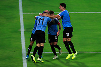 ARMENIA, COLOMBIA - JANUARY 19: Uruguay players celebrates a goal during their CONMEBOL Pre-Olympic soccer game against Paraguay at Centenario Stadium on January 19, 2020 in Armenia, Colombia. (Photo by Daniel Munoz/VIEW press/Getty Images)