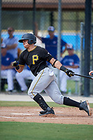 Pittsburgh Pirates designated hitter Deon Stafford (86) hits into a fielder's choice during a Florida Instructional League game against the Toronto Blue Jays on September 20, 2018 at the Englebert Complex in Dunedin, Florida.  (Mike Janes/Four Seam Images)