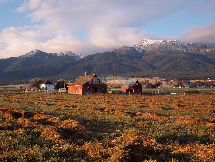 Farm with Red Barn Near the Wallowa Mountains