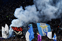 7th November 2019, Rome, Italy; UEFA Europa League football , group stages, Lazio versus Glasgow Celtic;  Lazio fans  light blue flares in the stands - Editorial Use