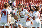 Los Angeles, CA 04/22/16 - Nina Kelly (USC #47) in action during the NCAA Stanford-USC Division 1 women lacrosse game at the Los Angeles Memorial Coliseum.  USC defeated Stanford 10-9/