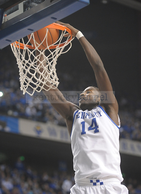 Kentucky Wildcats forward Michael Kidd-Gilchrist (14) dunks during the second half of the University of Kentucky Men's basketball game against Radford at Rupp Arena in Lexington, Ky., on 11/23/11. Uk led the game at half 88-40. Photo by Mike Weaver | Staff