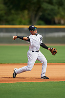 GCL Yankees East third baseman Jesus Graterol (6) throws to first base during the first game of a doubleheader against the GCL Blue Jays on July 24, 2017 at the Yankees Minor League Complex in Tampa, Florida.  GCL Blue Jays defeated the GCL Yankees East 6-3 in a game that originally started on July 8th.  (Mike Janes/Four Seam Images)