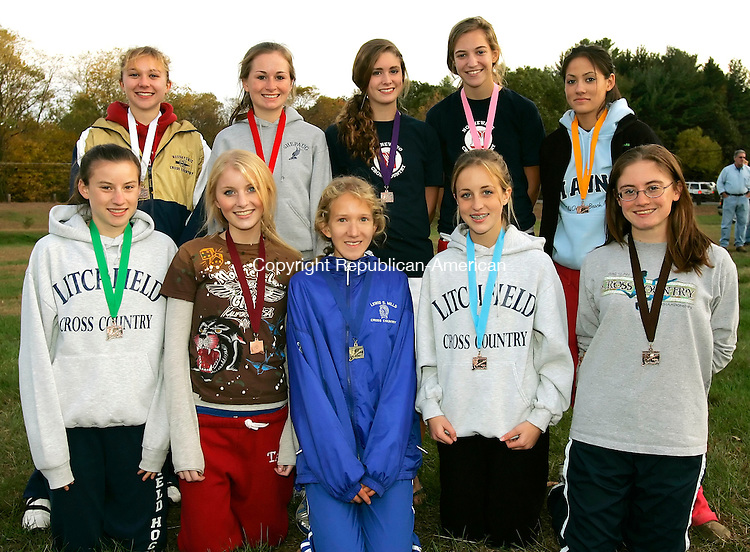 THOMASTON, CT - 21 OCTOBER 2005 -102105JS08- Girls All-Berkshire League Cross Country team, front row, from left, Katie Pratt-Litchfield; Annie Secombe-Litchfield; Anna Shields-Lewis Mills; Kaleigh Mierzwinski-Litchfield and Chloe Bourne-Litchfiled. Back row, from left, Stephanie Kearns-Housatonic; Christina Wells-Shepaug; Maddy Nicholas-Nonnewaug; Kate Adams-Nonnewaug and Annalisse Mahon-Nonnewaug.   --Jim Shannon Republican-American--Katie Pratt, Annie Secombe, Anna Shields, Kaleigh Mierzwinski, Chloe Bourne, Stephanie Kearns, Christina Wells, Maddy Nicholas; Kate Adams; Annalisse Mahon are CQ
