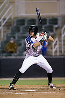 Brandon Dulin (31) of the Kannapolis Intimidators at bat against the Asheville Tourists at Kannapolis Intimidators Stadium on May 5, 2017 in Kannapolis, North Carolina.  The Tourists defeated the Intimidators 5-1.  (Brian Westerholt/Four Seam Images)