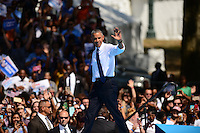 Philadelphia, PA - September 13, 2016: U.S. President Barack Obama waves to supporters as he enters the Eakins Oval park in Philadelphia, Pennsylvania, September 13, 2016, during a campaign stop in support of Hillary Clinton for president.  (Photo by Don Baxter/Media Images International)