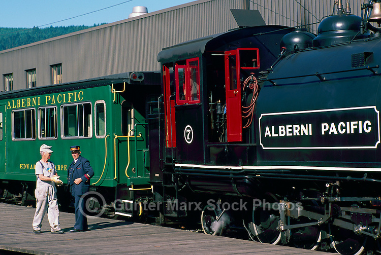 Restored 1929 2-8-2T Baldwin No. 7 Steam Locomotive at Port Alberni Railway Station, Vancouver Island, BC, British Columbia, Canada - Historic Trains and Engines