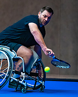 Alphen aan den Rijn, Netherlands, December 14, 2018, Tennispark Nieuwe Sloot, Ned. Loterij NK Tennis,  Wheelchair men's doubles :  Ricky Molier (NED) <br /> Photo: Tennisimages/Henk Koster