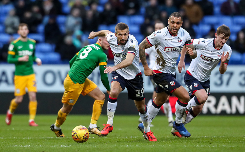 Bolton Wanderers' Gary O'Neil breaks with Josh Magennis and Callum Connolly in support<br /> <br /> Photographer Andrew Kearns/CameraSport<br /> <br /> The EFL Sky Bet Championship - Bolton Wanderers v Preston North End - Saturday 9th February 2019 - University of Bolton Stadium - Bolton<br /> <br /> World Copyright © 2019 CameraSport. All rights reserved. 43 Linden Ave. Countesthorpe. Leicester. England. LE8 5PG - Tel: +44 (0) 116 277 4147 - admin@camerasport.com - www.camerasport.com