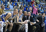 08 March 2008:   The Air Force Falcon bench watches the final seconds of the Falcon's 46-43 Mountain West Conference victory over the San Diego State Aztecs at Clune Arena, U.S. Air Force Academy, Colorado Springs, Colorado.