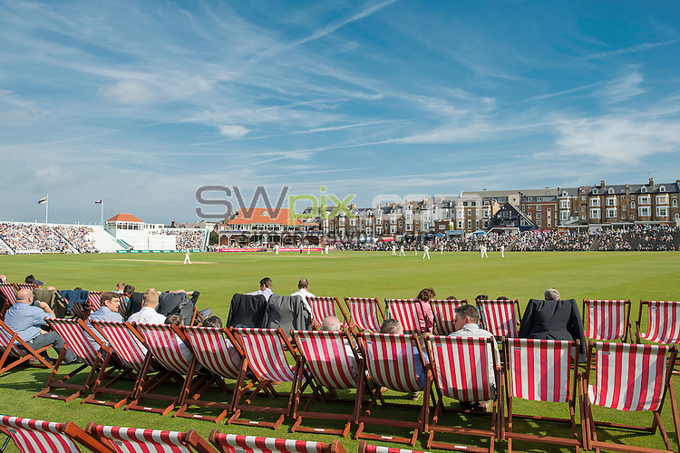 Picture by Allan McKenzie/SWpix.com - 23/08/2016 - Cricket - Specsavers County Championship - Yorkshire County Cricket Club v Nottinghamshire County Cricket Club - North Marine Road, Scarborough, England - A general view of the deckchairs in the North Marine Road ground during the Scarborough cricket festival.