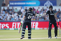 Tom Latham (New Zealand) is congratulated by Mitchell Santner (New Zealand) on his half century during England vs New Zealand, ICC World Cup Cricket at The Riverside Ground on 3rd July 2019