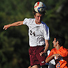 Christopher Crowley #24 of Garden City makes a header during during a Nassau County Conference A1 varsity boys soccer game against Great Neck North at Garden City High School on Monday, Sept. 12, 2016. The game ended in a scoreless tie.