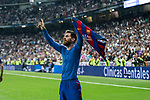 Leo Messi of FC Barcelona celebrates after scoring a goal during the match of La Liga between Real Madrid and Futbol Club Barcelona at Santiago Bernabeu Stadium  in Madrid, Spain. April 23, 2017. (ALTERPHOTOS)
