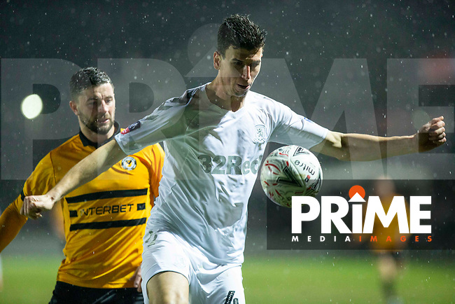 Daniel Ayala of Middlesbrough shields the ball from Padraig Amond of Newport County during the FA Cup 4th round replay match between Newport County and Middlesbrough at Rodney Parade, Newport, Wales on 5 February 2019. Photo by Mark  Hawkins / PRiME Media Images.