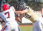 Palos Verdes, CA 10/09/15 - Charles Akanno (Morningside #7) and Luke Denney (Peninsula #50) in action during the Morningside - Peninsula varsity football game.  Morning side defeated Peninsula 24-21.