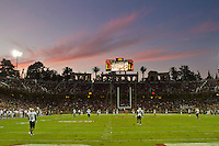 Stanford, CA - October 8, 2011: Sunset at Stanford Cardinal stadium during the game between Stanford Cardinal and Colorado at Stanford Stadium in Stanford, California. Final score Stanford Cardinal 48, Colorado 7.