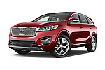 Stock pictures of low aggressive front three quarter view of a 2016 KIA Sorento SXT 5 Door SUV