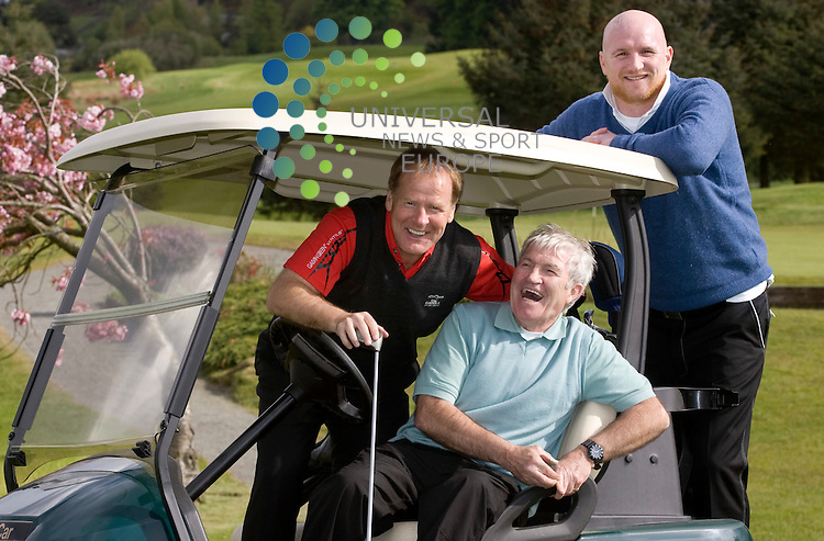 John Hartson, Bertie Auld and Murdo MacLeod during a photocell for the Charity Golf Day at Gleddoch Golf Club in aid of Nordoff-Robbins Music Therapy in Scotland. The Charity helps adults and children isolated from the world by illness, disability and trauma..12 May 2010 Picture: Universal News And Sport (Scotland).....