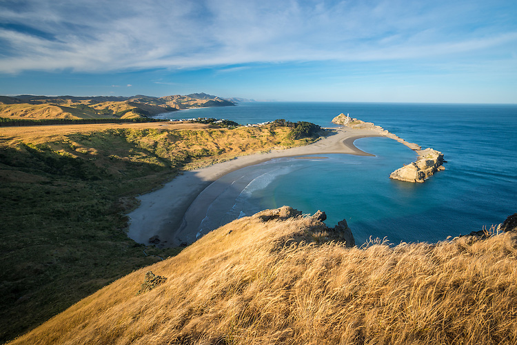 View from Castle Rock to Castlepoint lIghthouse, Wairarapa, New Zealand - stock photo, canvas, fine art print