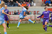 Bridgeview, IL, USA - Sunday, May 1, 2016: Chicago Red Stars midfielder Amanda Da Costa (13) during a regular season National Women's Soccer League match between the Chicago Red Stars and the Orlando Pride at Toyota Park. Chicago won 1-0.