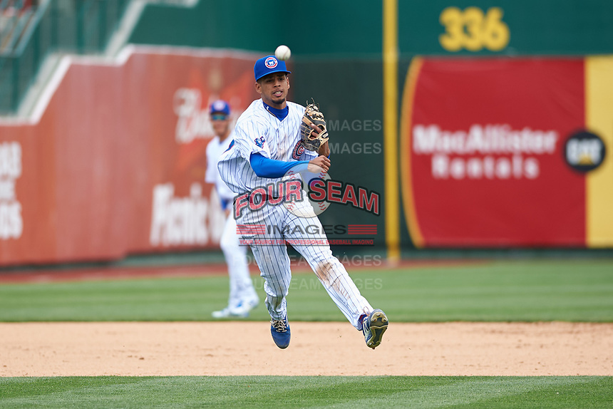 South Bend Cubs third baseman Christopher Morel (29) throws to first base during a Midwest League game against the Cedar Rapids Kernels at Four Winds Field on May 8, 2019 in South Bend, Indiana. South Bend defeated Cedar Rapids 2-1. (Zachary Lucy/Four Seam Images)
