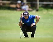 10th February 2018, Lake Karrinyup Country Club, Karrinyup, Australia; ISPS HANDA World Super 6 Perth golf, third round; Grant Forrest (SCT) prepares to putt