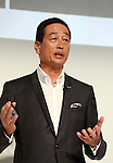 """September 21, 2016, Tokyo, Japan - Japan's cosmetics giant Shiseido president Masahiko Uotani announces the company will launch the new make-up brand """"Playlist"""" in Tokyo on Wednesday, September 21, 2016. Playlist is developed by Shiseido's professional make-up artists and users will be able to have web counselling and make-up tips through the Internet.   (Photo by Yoshio Tsunoda/AFLO) LWX -ytd-"""