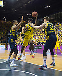 09.06.2019, EWE Arena, Oldenburg, GER, easy Credit-BBL, Playoffs, HF Spiel 3, EWE Baskets Oldenburg vs ALBA Berlin, im Bild<br /> Frantz MASSENAT (EWE Baskets Oldenburg # 10 ) Johannes TIEMANN (ALBA Berlin #32 ) Rokas GIEDRAITIS (ALBA Berlin #31 )<br /> <br /> Foto © nordphoto / Rojahn