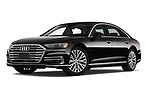 Stock pictures of low aggressive front three quarter view of 2019 Audi A8-L - 4 Door Sedan Low Aggressive