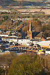 Looking down on Lockerbie on a frost cold winter morning from Mounthoolie hill above the town, Annandale, Scotland, UK. Looking down on town centre and Holy Trinity Roman Catholic Church