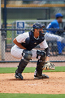GCL Yankees East catcher Pedro Diaz (53) awaits the pitch during the second game of a doubleheader against the GCL Blue Jays on July 24, 2017 at the Yankees Minor League Complex in Tampa, Florida.  GCL Yankees East defeated the GCL Blue Jays 7-3.  (Mike Janes/Four Seam Images)