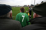 Burscough 3, Gillingham 2, 05/11/2005. Victoria Park, Burscough, FA Cup first round. Fans watching the the first-half. Burscough (in green) from the Northern Premier League Premier Division defeated their Football League Championship rivals by 3-2 with two goals in the last minute, watched by a crowd of 1927 spectators. Photo by Colin McPherson.