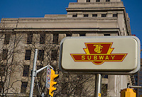 A subway sign is pictured in Toronto April 19, 2010. The Toronto subway and RT system is a rapid transit system in Toronto, Ontario, Canada, consisting of both underground and elevated railway lines, operated by the Toronto Transit Commission (TTC).