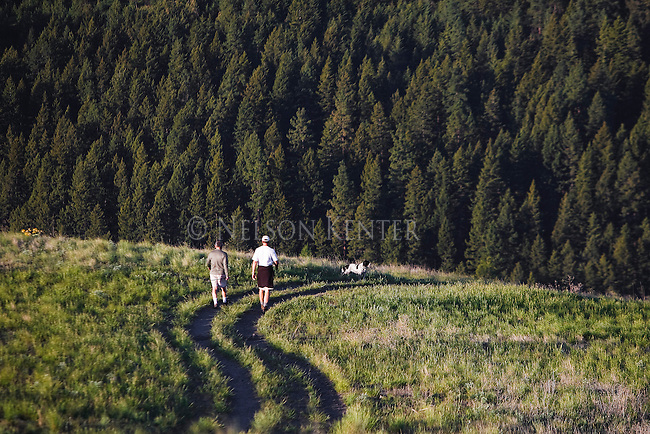 Hikers on the Pengally trail on Mount Sentinel in Missoula, Montana