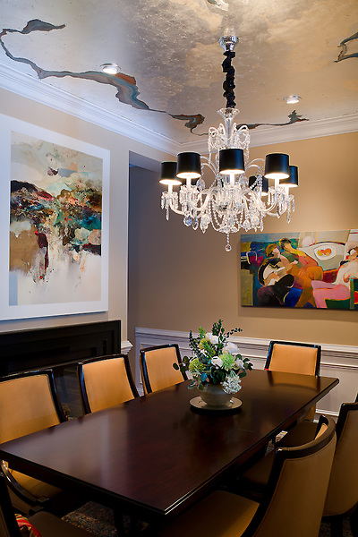 Decorative paint ceiling  dining room using silver leaf
