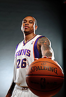 Dec. 16, 2011; Phoenix, AZ, USA; Phoenix Suns guard Shannon Brown poses for a portrait during media day at the US Airways Center. Mandatory Credit: Mark J. Rebilas-