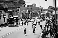 peloton 'strolling around' the Antwerp Harbour during the wait before the neutralised start<br /> <br /> 92nd Schaal Sels 2017 <br /> 1 Day Race: Merksem > Merksem (188km)