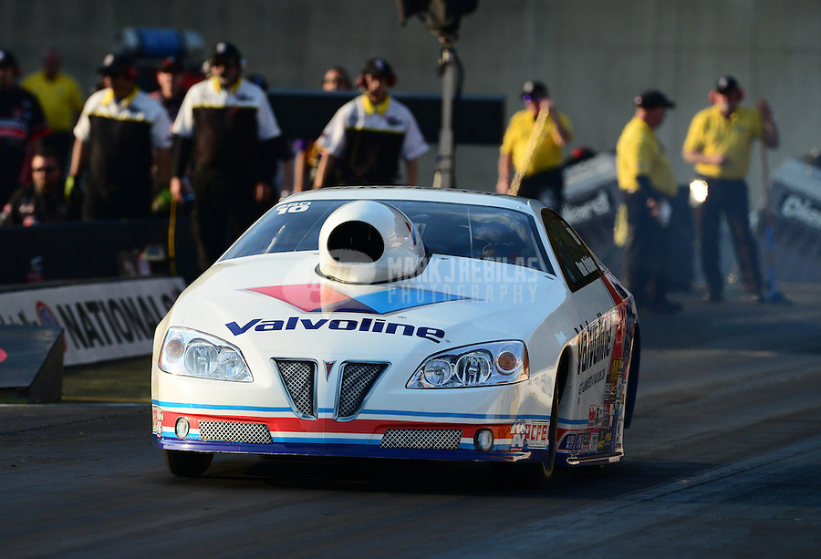 Oct. 5, 2012; Mohnton, PA, USA: NHRA pro stock driver Ron Krisher during qualifying for the Auto Plus Nationals at Maple Grove Raceway. Mandatory Credit: Mark J. Rebilas-