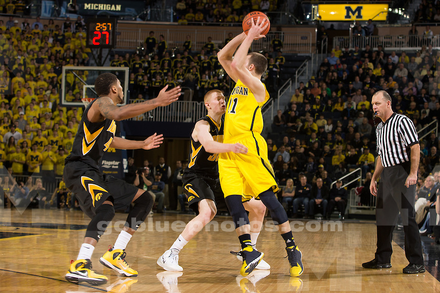The University of Michigan men's basketball team defeats Iowa, 75-67, at Crisler Center in Ann Arbor, Mich., on Jan. 22, 2014.