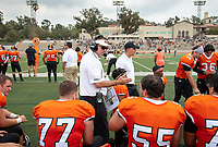 Rob Cushman, Head Football Coach<br /> The Occidental Tigers football team came up short in its Battle for the Shoes rivalry game against the Whittier Poets, falling 28-13 at Jack Kemp Stadium on Saturday, Oct. 6, 2018.<br /> (Photo by Marc Campos, Occidental College Photographer)