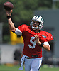 Bryce Petty #9, New York Jets quarterback, throws a pass during a day of team training camp held at Atlantic Health Jets Training Center in Florham Park, NJ on Monday, July 31, 2017.